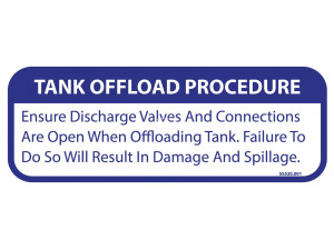 Keco PumpOut Systems Tank Offload Procedure - Decal