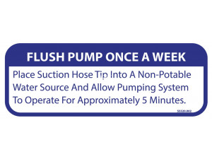 Keco PumpOut Systems Flush Pump Once A Week - Decal