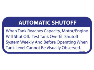 Keco PumpOut Systems Automatic Shutoff - Decal